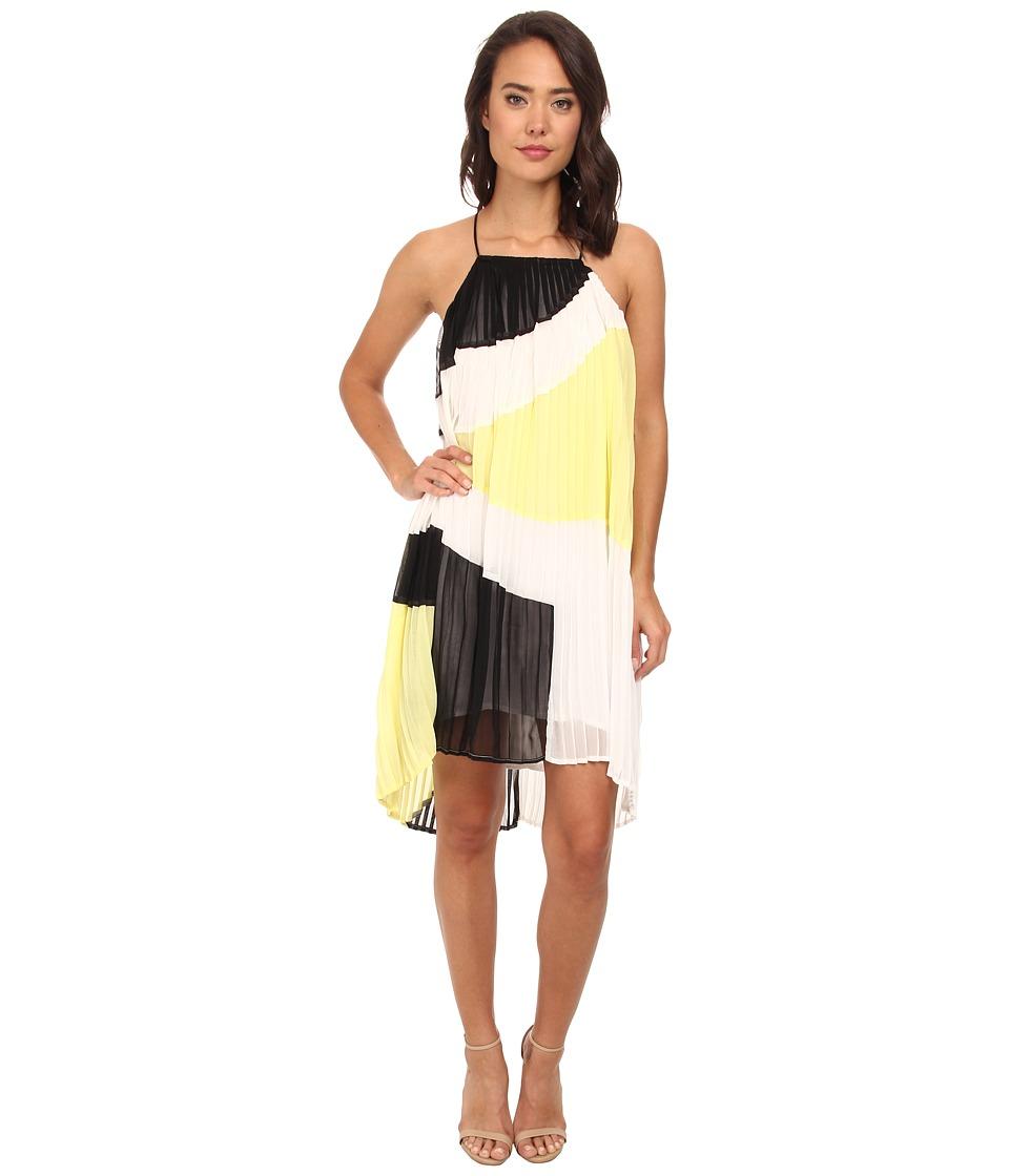 Gabriella Rocha - Color Block Pleated Dress (Black/White/Lime Multi) Women