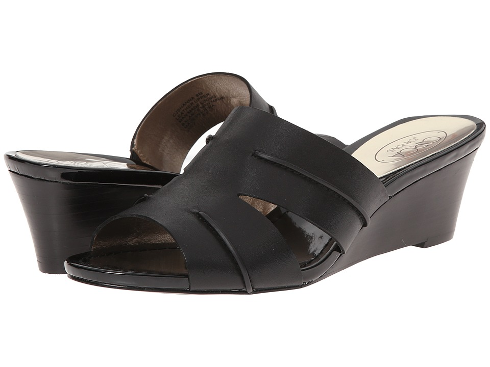 Circa Joan & David - Shanna (Black Leather) Women's Wedge Shoes