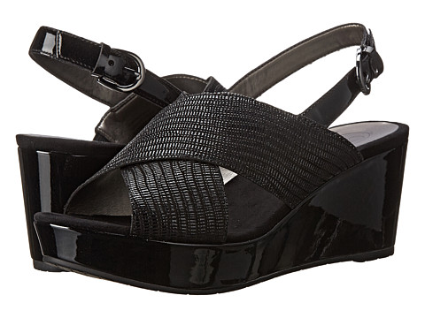 Circa Joan & David - Wandy (Black Reptile) Women's Wedge Shoes