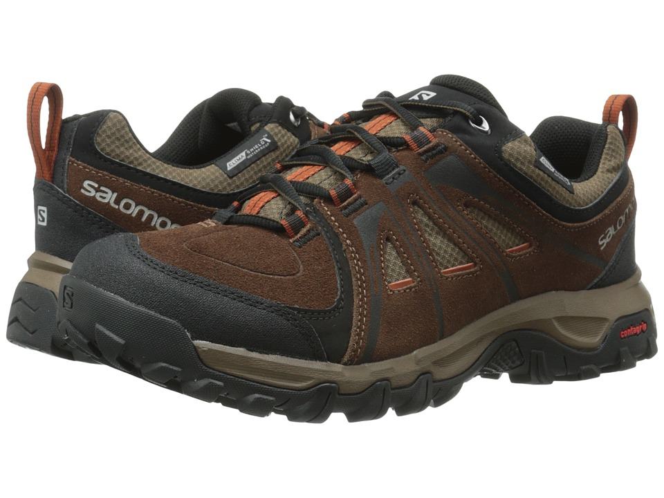Salomon - Evasion CS WP (Dark Brown Leather/Burro/Oxide-X) Men's Shoes