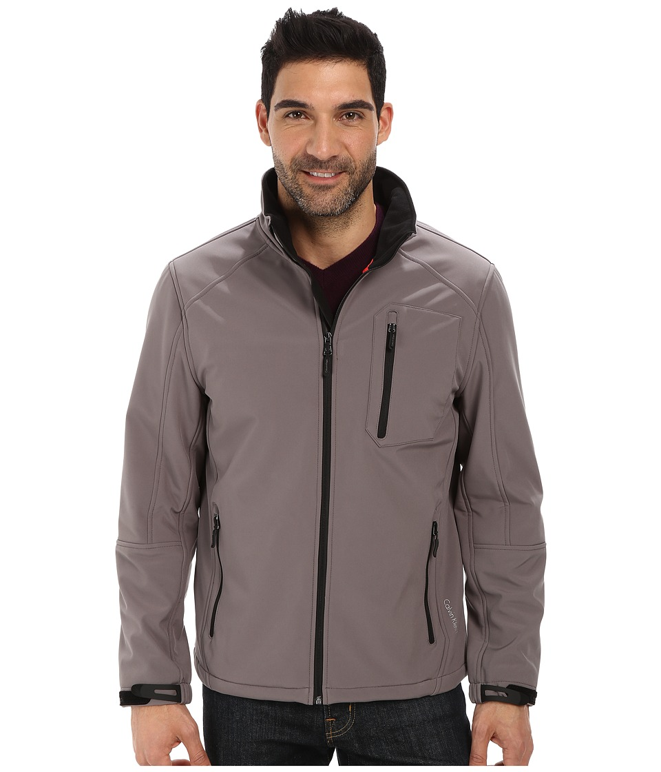 Calvin Klein - Full Zip Softshell Jacket (Covert Grey) Men's Coat