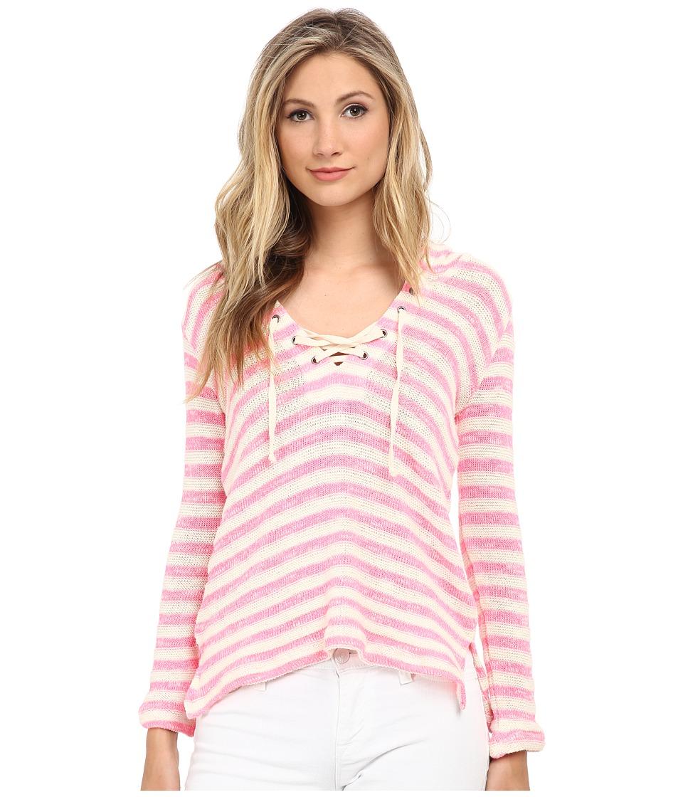 Splendid - Ohana Stripe Loose Knit Hoodie (Neon Pink) Women's Sweatshirt