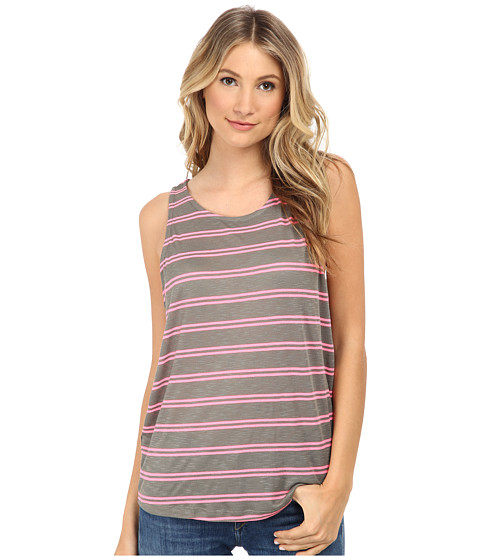 Splendid - Cayman Stripe Tank Top (Dusty Olive/Neon Pink) Women's Sleeveless