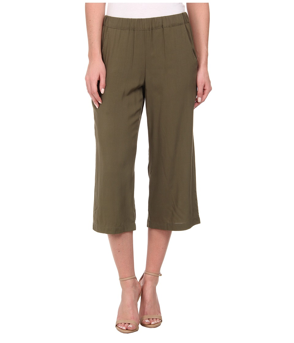 Splendid - Rayon Voile Wide Leg Crop Pants (Dusty Olive) Women's Casual Pants