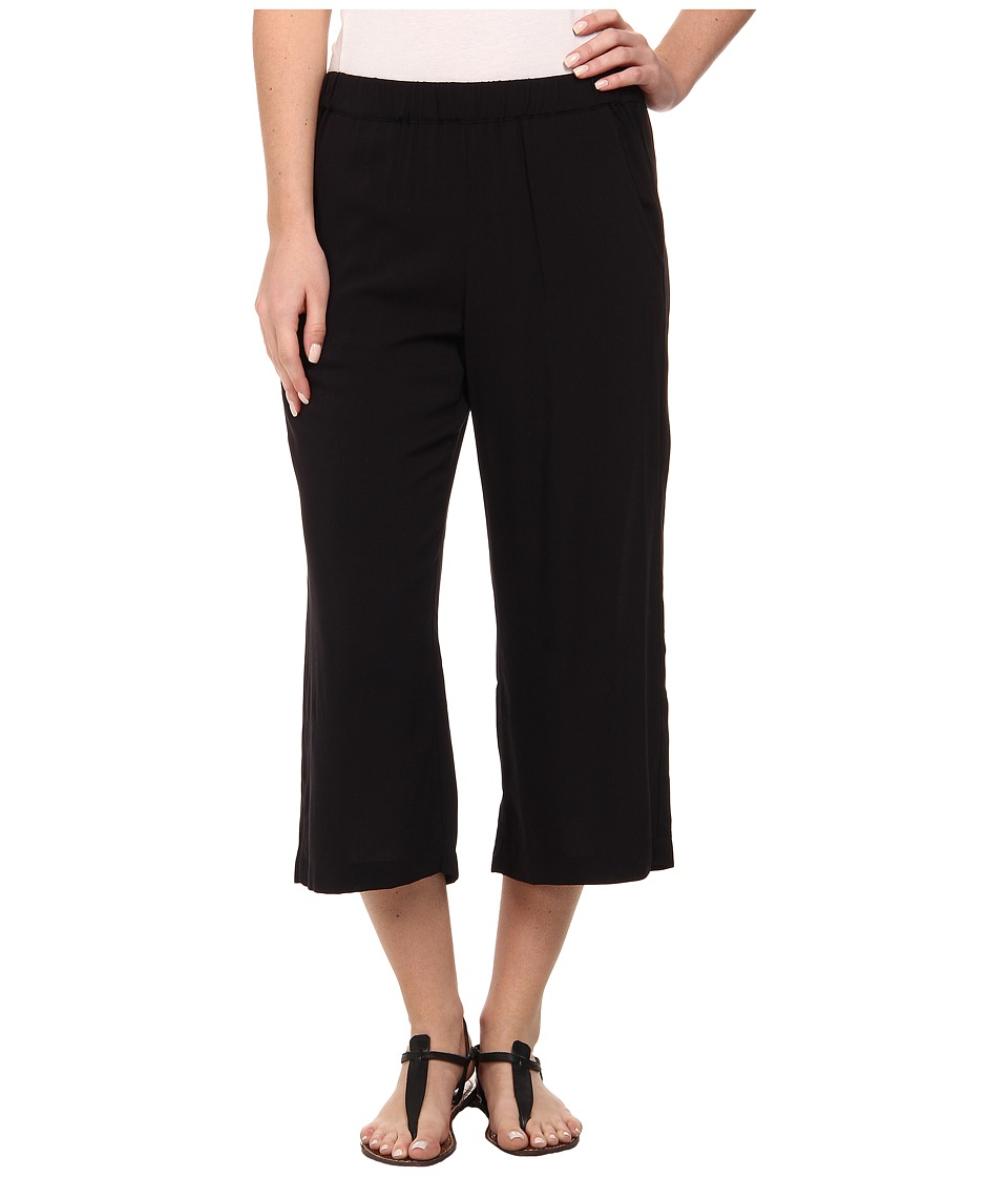 Splendid - Rayon Voile Wide Leg Crop Pants (Black) Women's Casual Pants