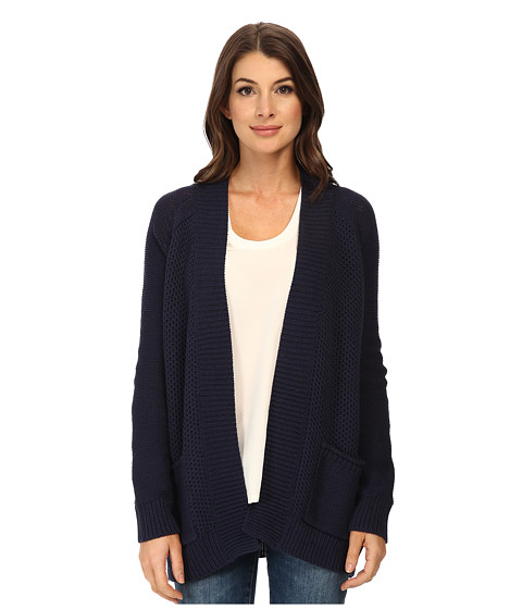 Splendid - Honeycomb Stitch Mix Cardigan (Navy) Women