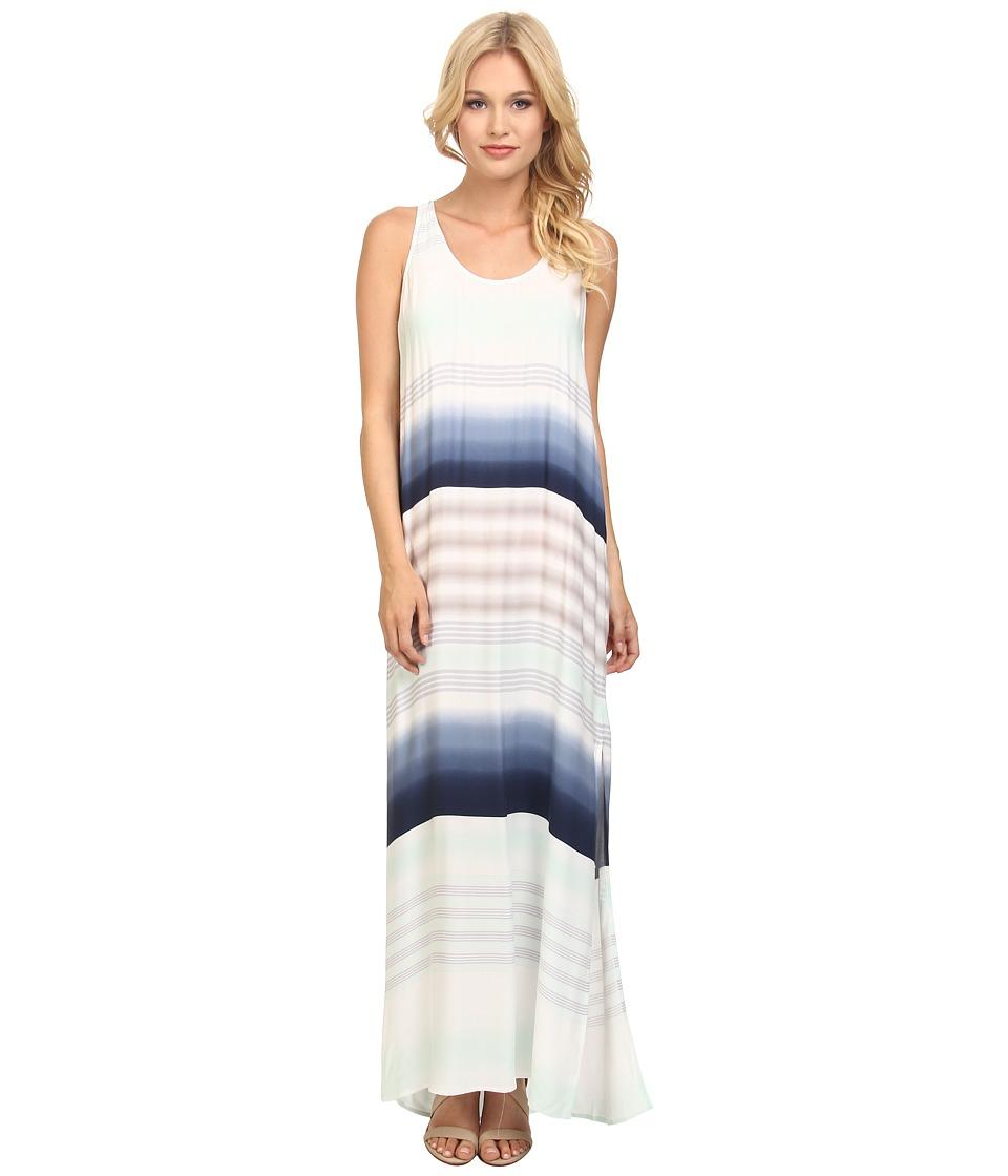 Splendid - Tropical Stripe Maxi Dress (Stone Blue/Surf Spray) Women