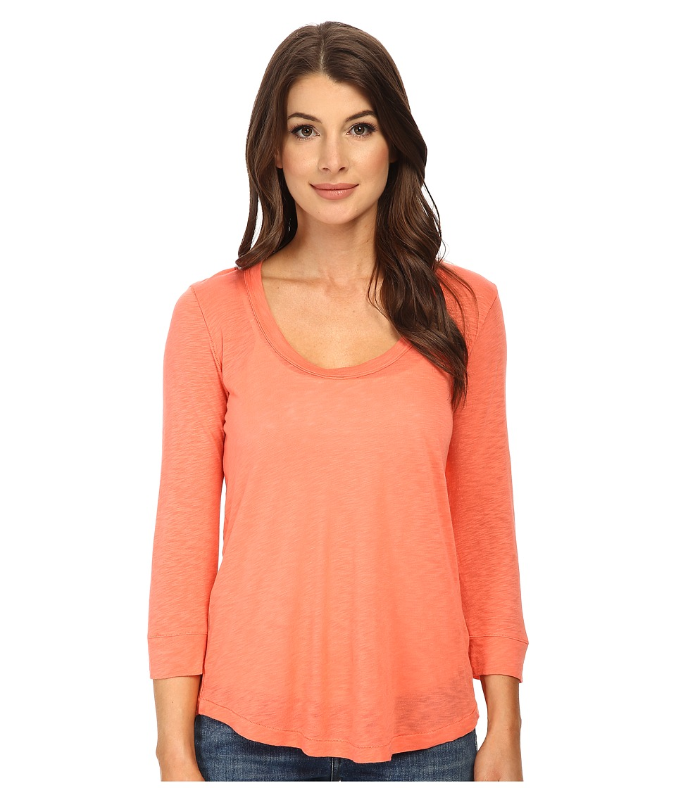 Splendid Slub 3/4 Length Sleeve Tee (Guava) Women