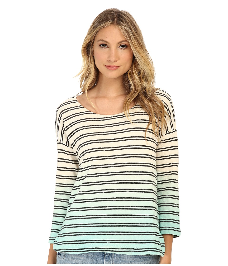 Splendid - Stripe Dip Dye Active Pullover (Black/Surf Spray) Women's T Shirt