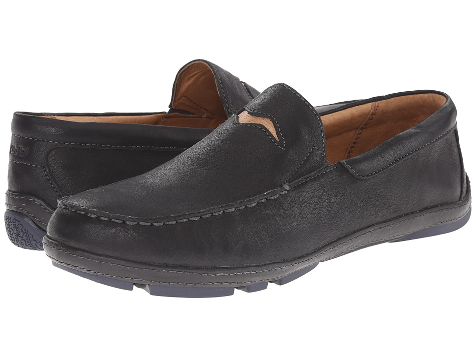 OluKai - 'Iwa (Black/Trench Blue) Men's Slip on Shoes