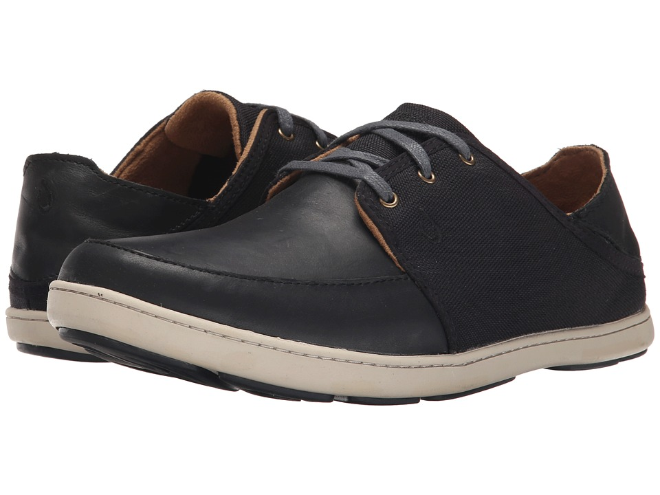OluKai Nohea Lace Leather (Black/Black) Men