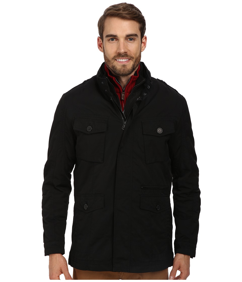 Cole Haan - 2-in-1 Convertible Utility Rain Jacket w/ Hidden Hood (Black) Men