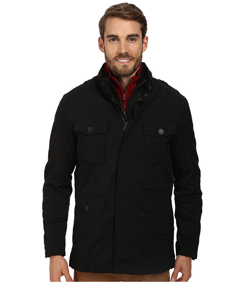 Cole Haan - 2-in-1 Convertible Utility Rain Jacket w/ Hidden Hood (Black) Men's Jacket