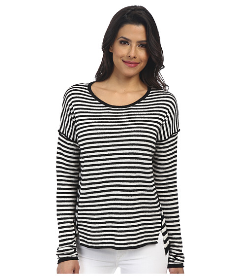 Velvet by Graham & Spencer - Bari Long Sleeve Crew Neck Top (Black/Milk) Women's Clothing
