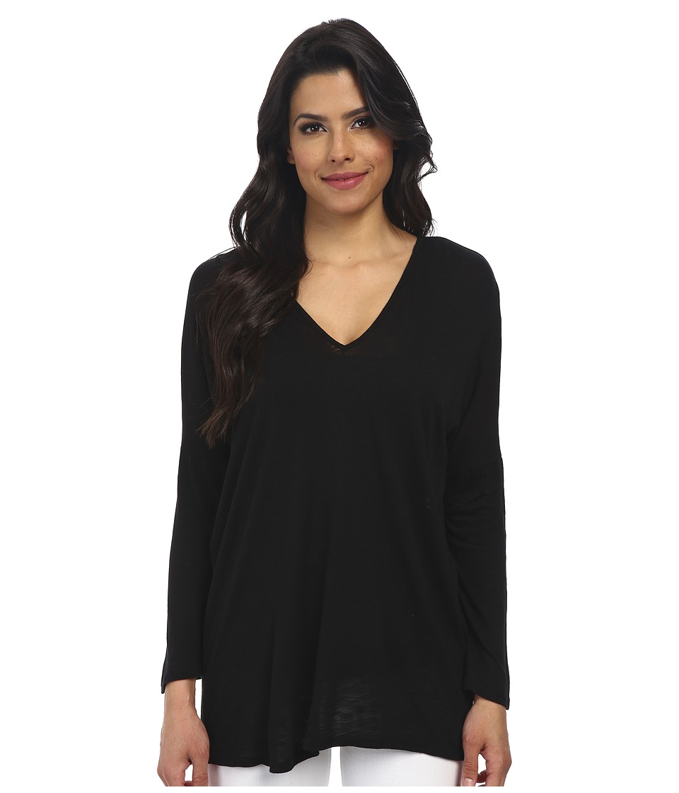 Velvet by Graham & Spencer - Vasena Long Sleeve V-Neck Top (Black) Women's Clothing