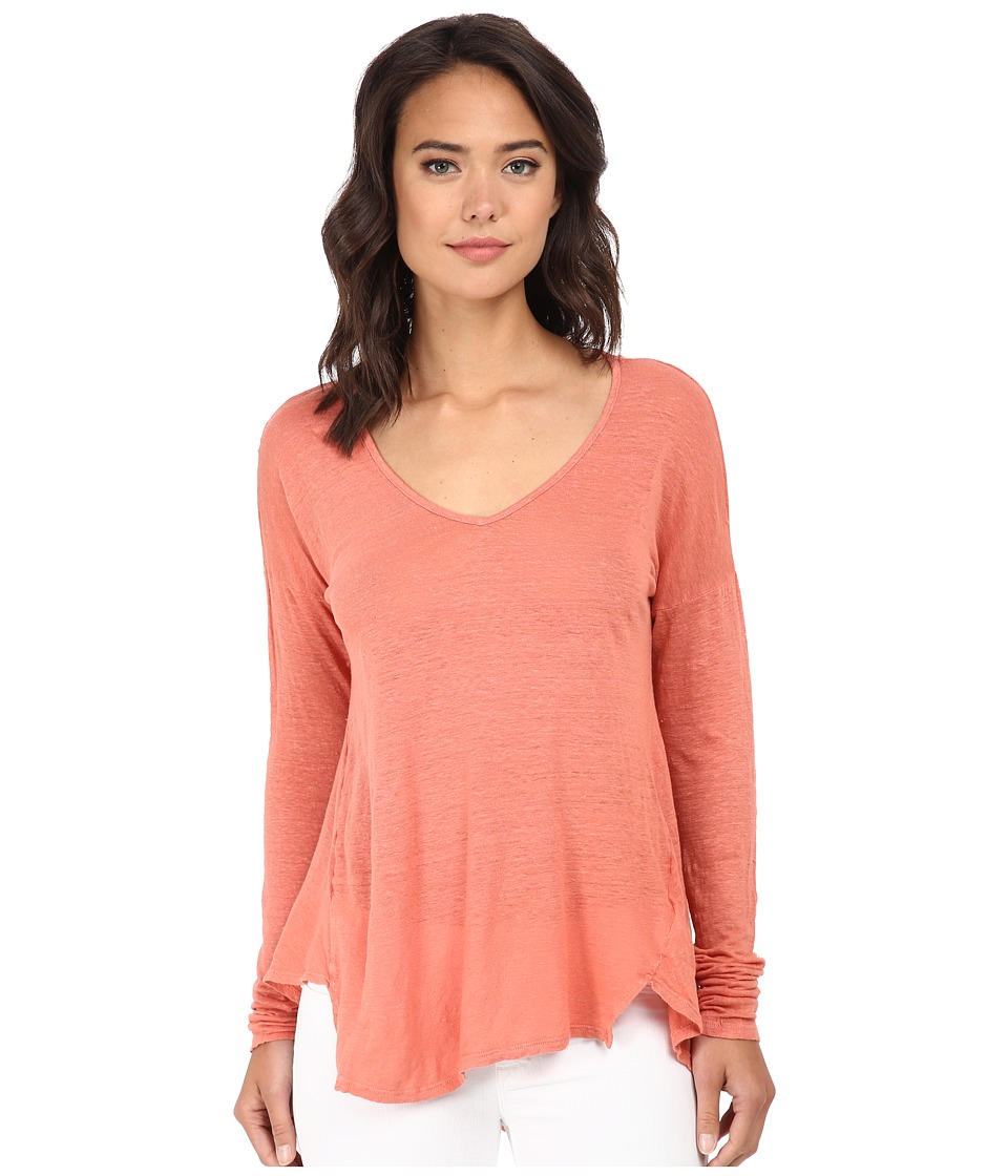 Velvet by Graham & Spencer - Syla Long Sleeve Linen Top (Silica) Women's Clothing