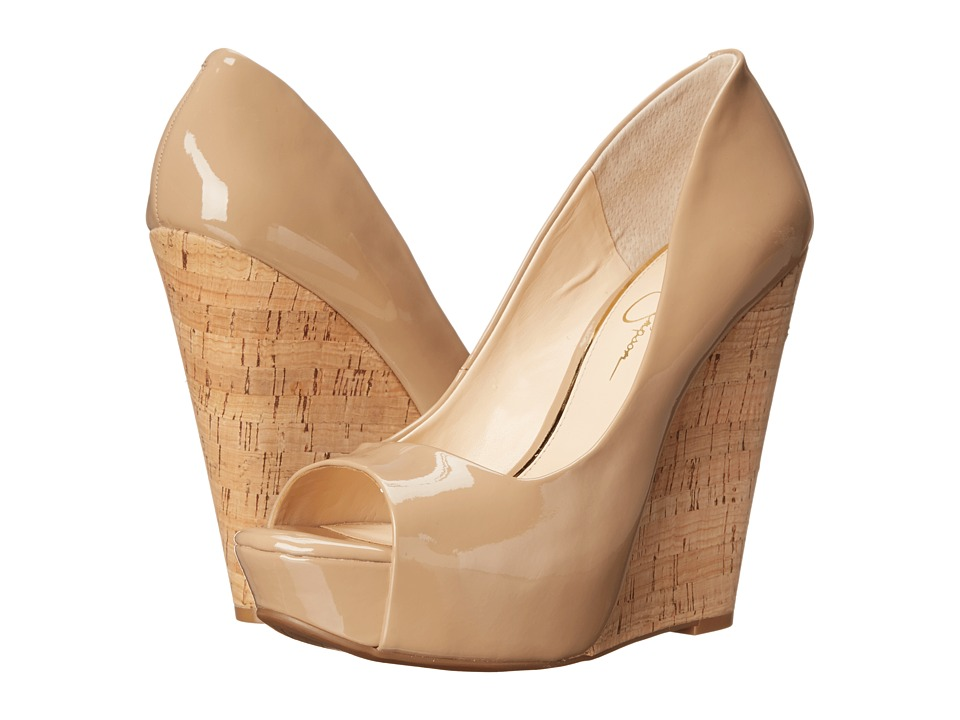 Jessica Simpson - Bethani (Nude Patent/Cork) Women's Wedge Shoes