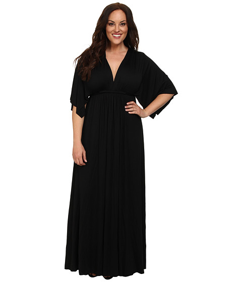 Rachel Pally Plus - Plus Size Long Caftan White Label (Black) Women's Dress