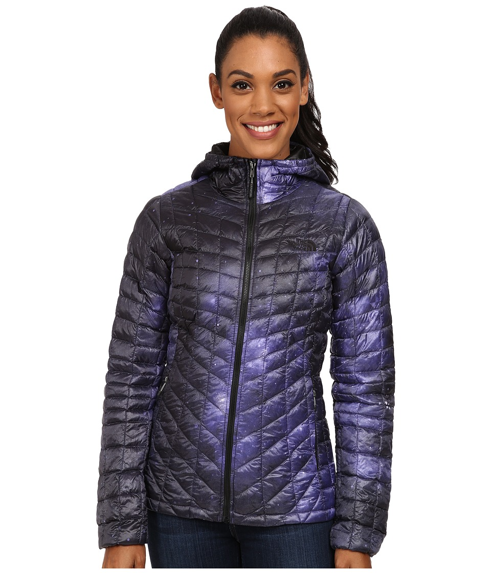 The North Face - ThermoBall Hoodie (Garnet Purple Galatic Print) Women's Coat