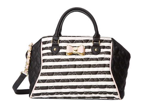 Betsey Johnson - Be My Bow Large Satchel (Stripe) Satchel Handbags