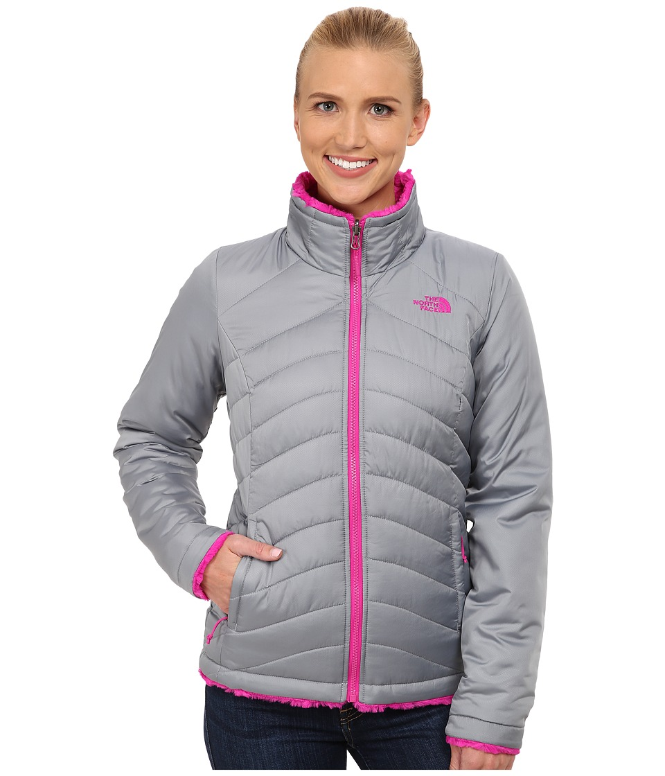 The North Face - Mossbud Swirl Reversible Jacket (Mid Grey/Luminous Pink) Women's Coat