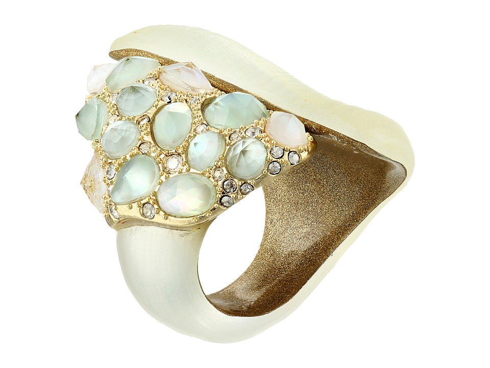 Alexis Bittar - Green Amethyst MOP Crystal Encrusted Cocktail Ring (Ivory) Ring