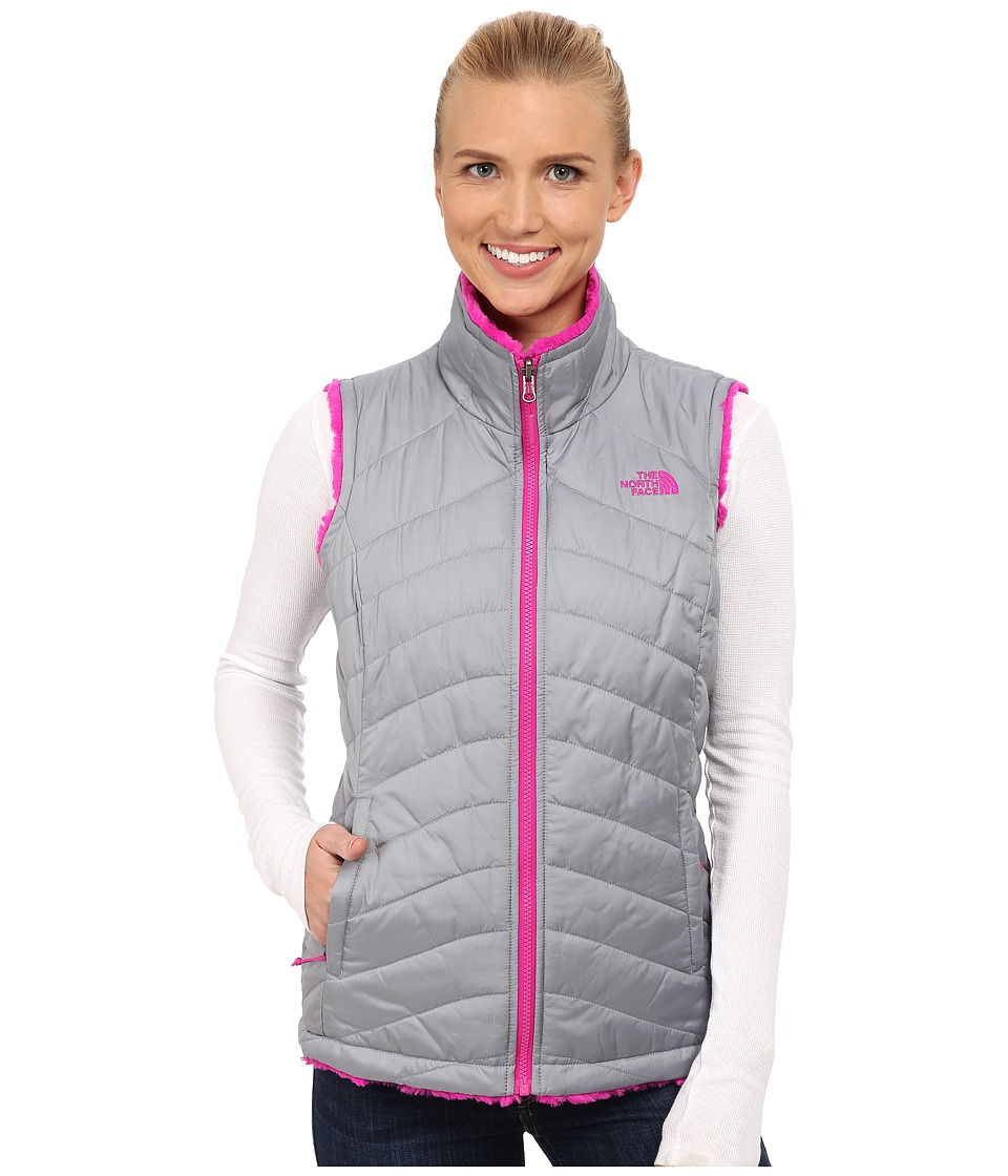 The North Face - Mossbud Swirl Reversible Vest (Mid Grey/Luminous Pink) Women's Vest