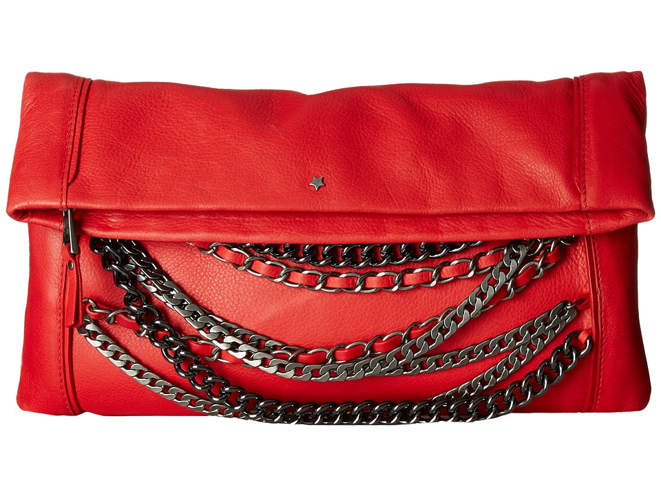 ASH - Domino Chain- Clutch (Red/Tarnish Silver/Gunmetal) Clutch Handbags