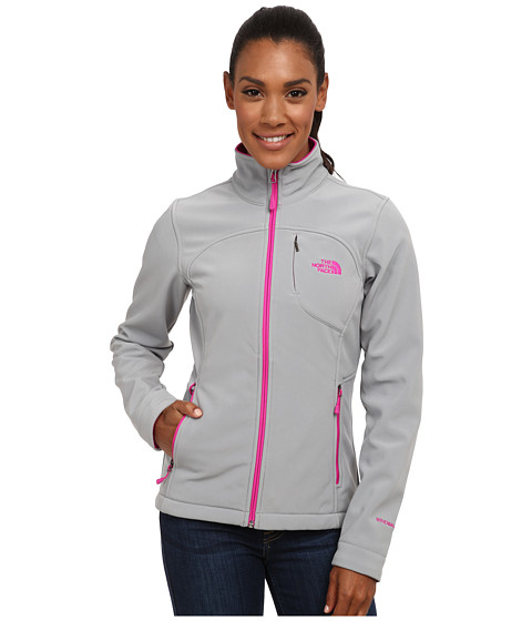 The North Face - Apex Bionic Jacket (Mid Grey/Luminous Pink) Women's Coat