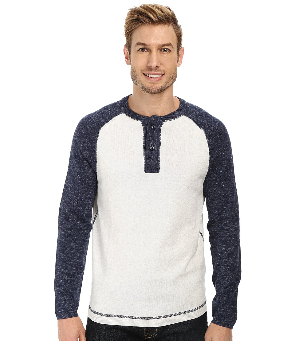 Agave Denim - Surfers Point Long Sleeve Fine Gauge Henly (Indigo) Men's Long Sleeve Pullover