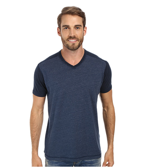 Agave Denim - Nihiwatu Short Sleeve Streaky Jersey V-Neck (Majolica Blue) Men