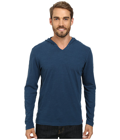 Agave Denim - The Box Long Sleeve Cotton Linen V Hoodie (Majolica Blue) Men