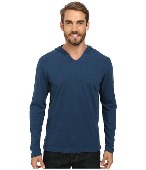Agave Denim - The Box Long Sleeve Cotton Linen V Hoodie (Majolica Blue) Men