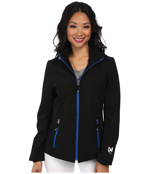 Nautica - Hooded Softshell Jacket (Black/Princess Blue) Women's Coat