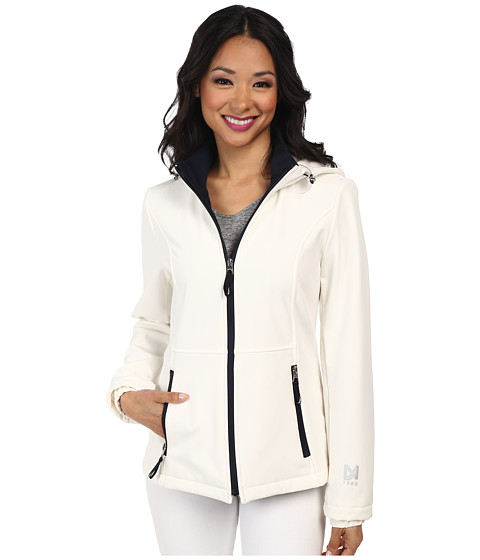 Nautica - Hooded Softshell Jacket (Cloud/Marine) Women's Coat