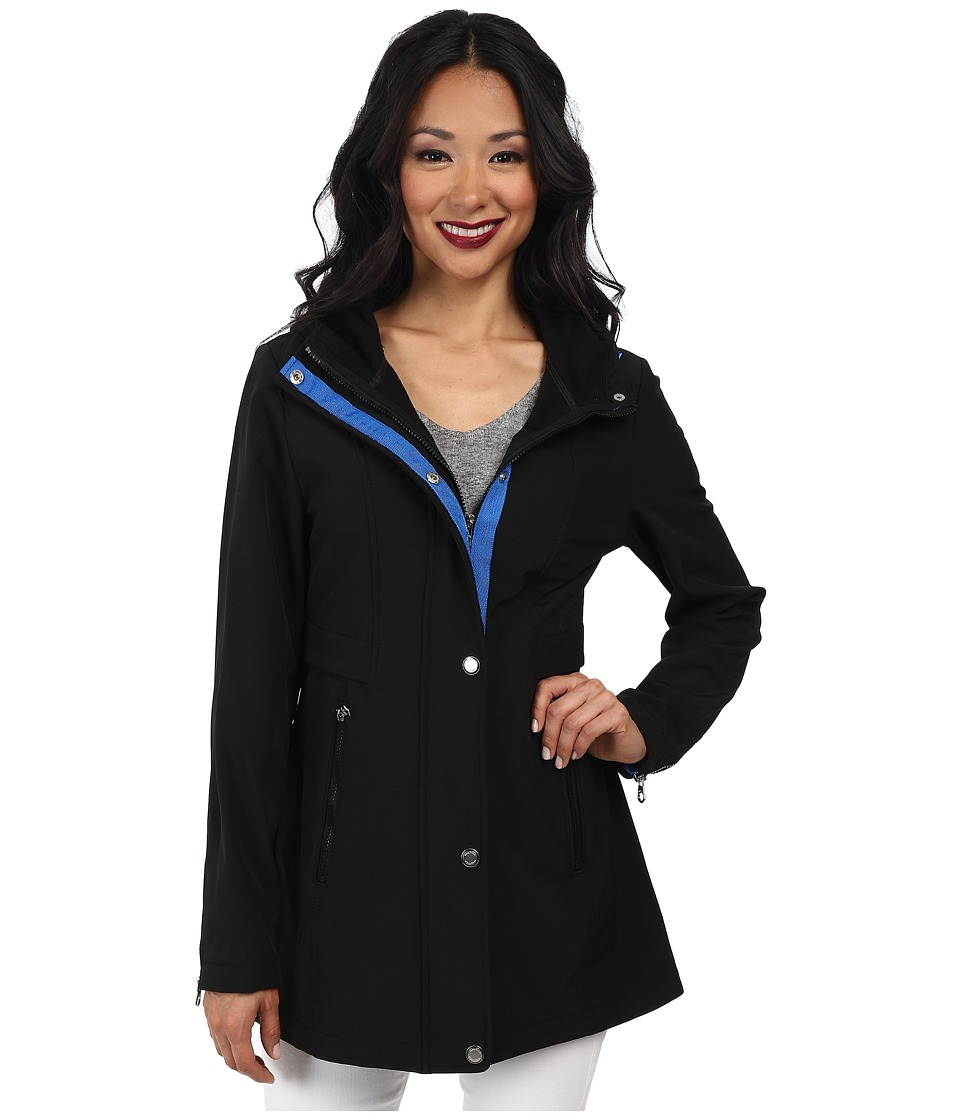 Nautica - Hooded Mesh Trim Softshell Jacket (Black/Princess Blue) Women