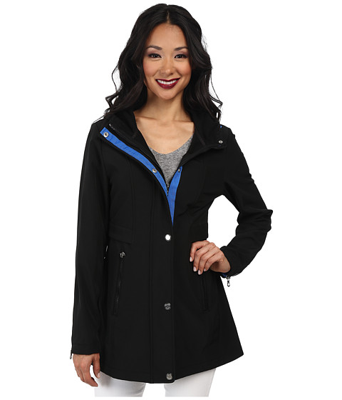 Nautica - Hooded Mesh Trim Softshell Jacket (Black/Princess Blue) Women's Coat