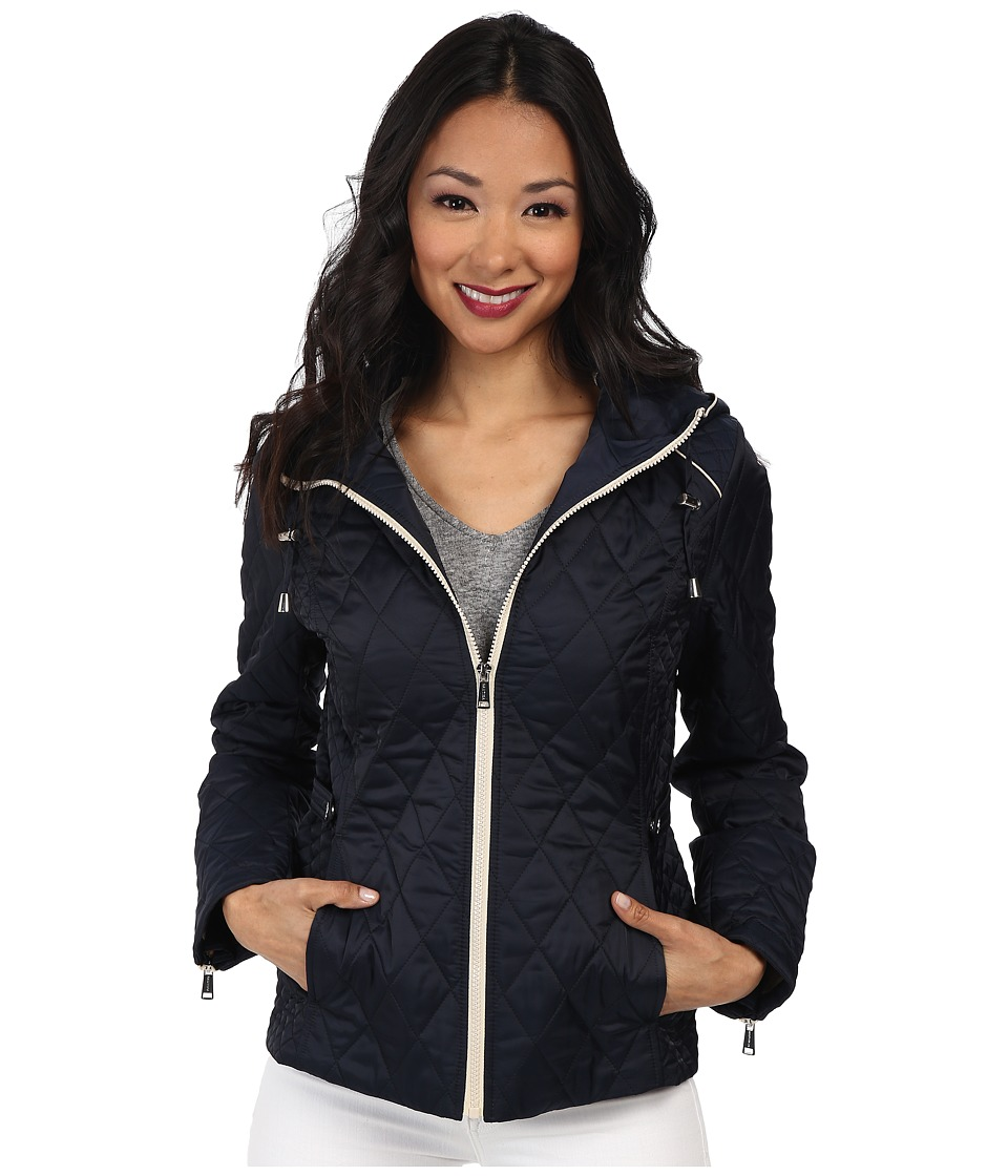 Nautica - Hooded Quilted Jacket (Marine/Cloud) Women's Coat