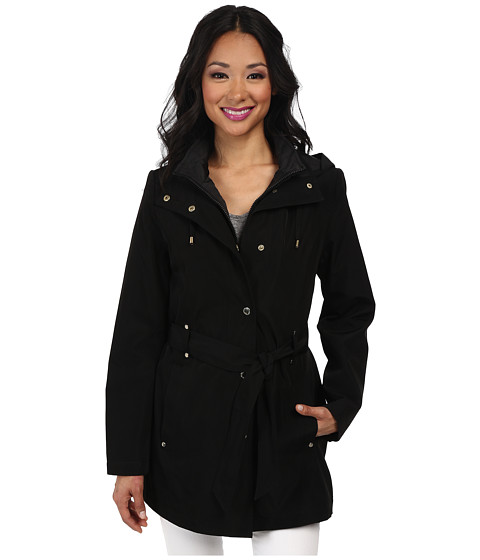 Nautica - Hooded Zip Front Layered Jacket (Black/Black) Women's Coat
