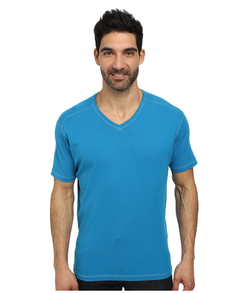 Agave Denim - Hanalei Bay Short Sleeve V-Neck Baby Rib (Mykonos Blue) Men's Clothing