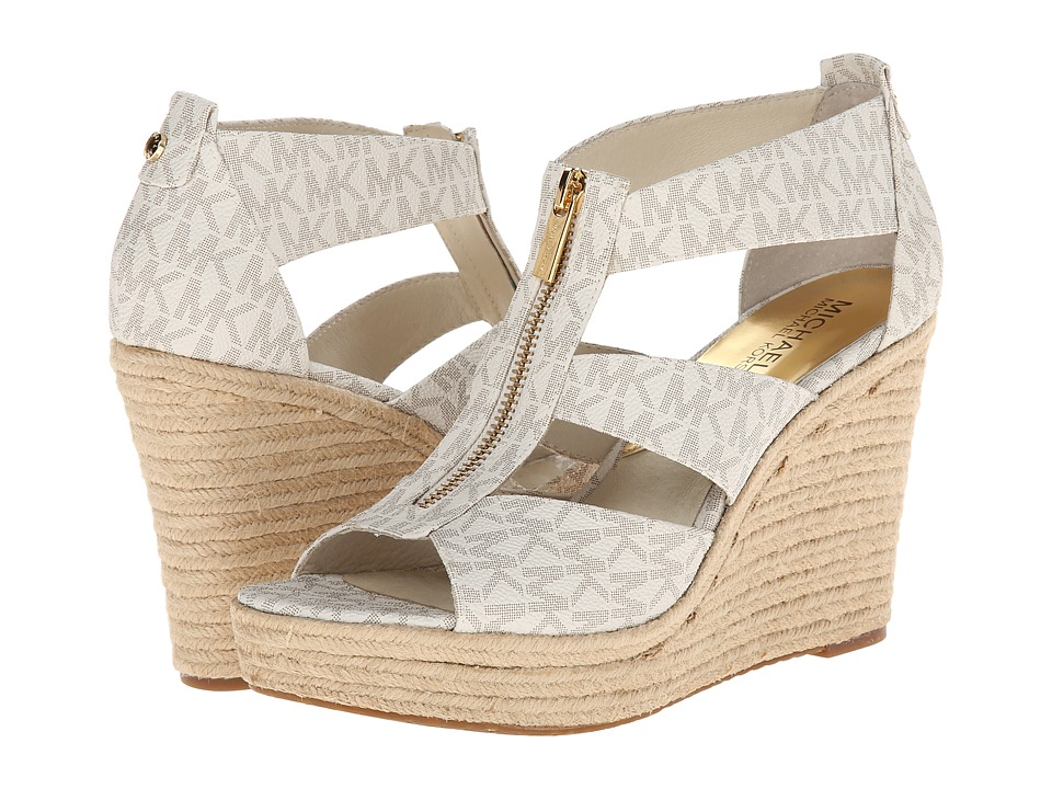 MICHAEL Michael Kors - Damita Wedge (Vanilla Mini Mk Sig Pvc 1) Women's Wedge Shoes