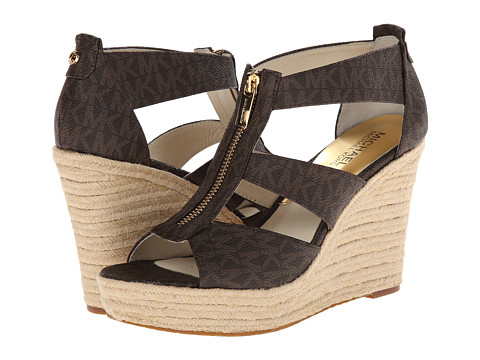 MICHAEL Michael Kors - Damita Wedge (Brown Mini Mk Sig Pvc 1) Women
