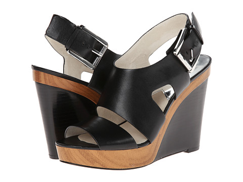 MICHAEL Michael Kors - Carla Wedge (Black Vachetta) Women