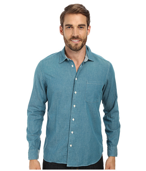 Agave Denim - Hossegor Long Sleeve Cotton Twill Woven (Teal) Men