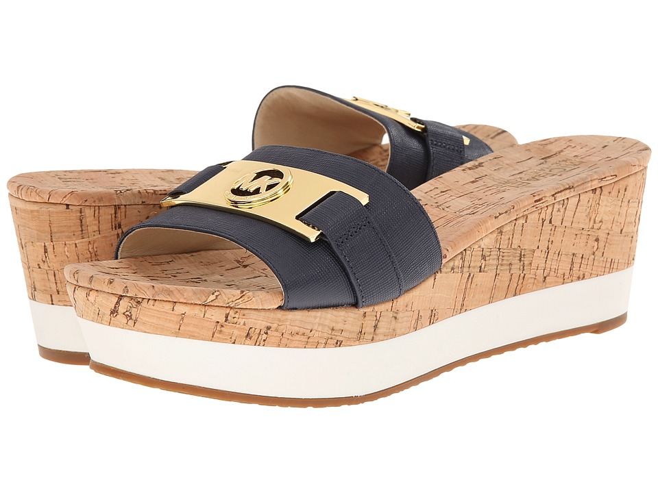 MICHAEL Michael Kors - Warren Platform (Navy Saffiano/Cork) Women's Sandals