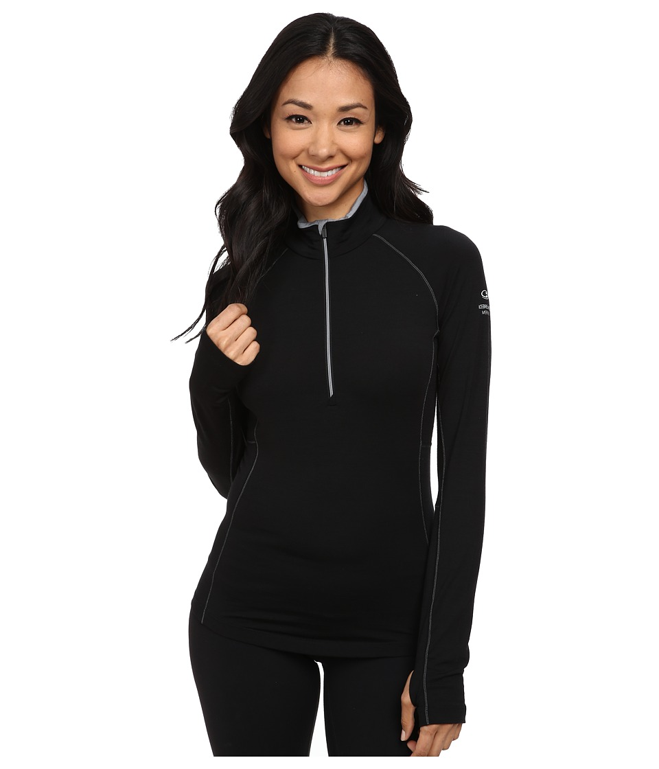 Icebreaker - Zone Long Sleeve Half Zip (Black/Mineral/Mineral) Women's Workout