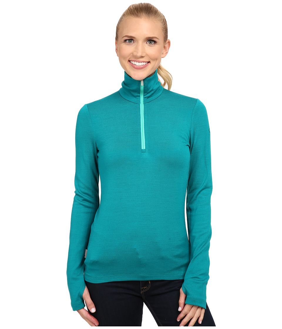 Icebreaker - Tech Top Long Sleeve Half Zip (Nautical/Patina) Women's Long Sleeve Pullover