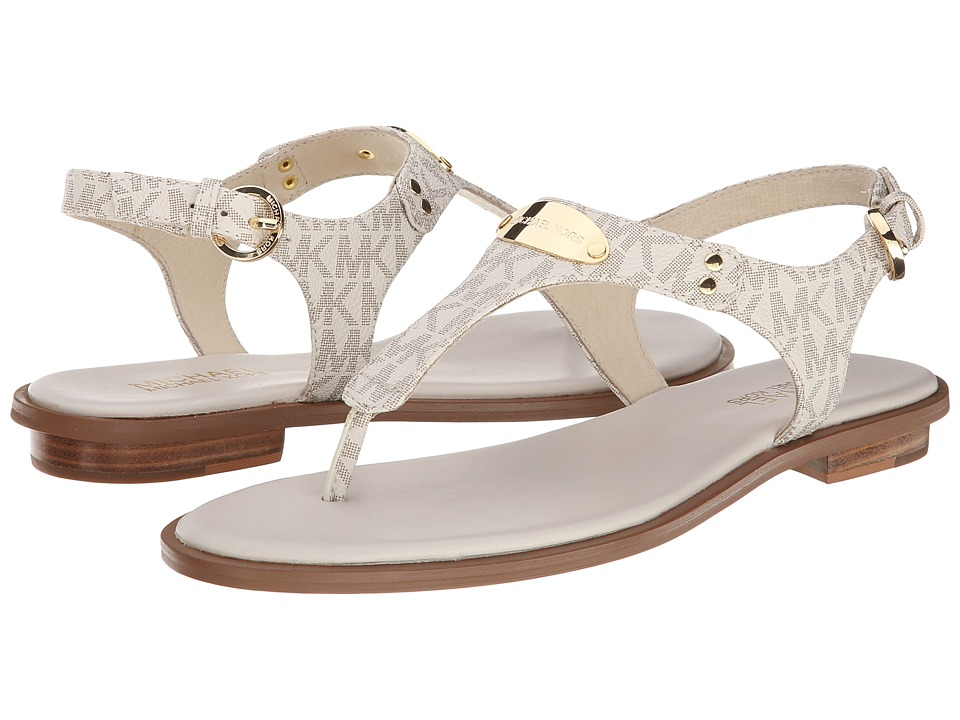 MICHAEL Michael Kors - MK Plate Thong (Vanilla Mini Mk Sig Pvc) Women's Sandals