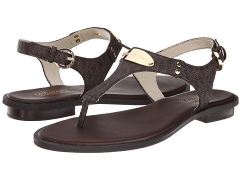 MICHAEL Michael Kors - MK Plate Thong (Brown Mini Mk Sig Pvc) Women's Sandals