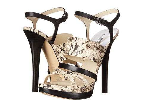 MICHAEL Michael Kors - Nadja Platform (Natural/Black Embossed Snake) High Heels